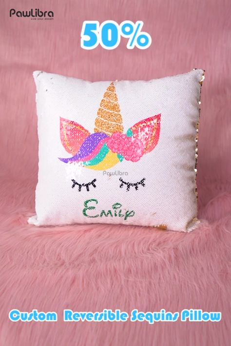 Give your kid's bedroom a magical touch with our Reversible Sequin Personalized Throw Pillow.