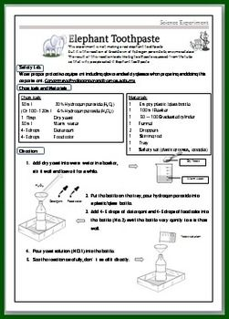 Elephant Toothpaste Science Experimental Worksheet For Kids Elephant Toothpaste Worksheets For Kids Elephant Toothpaste Experiment