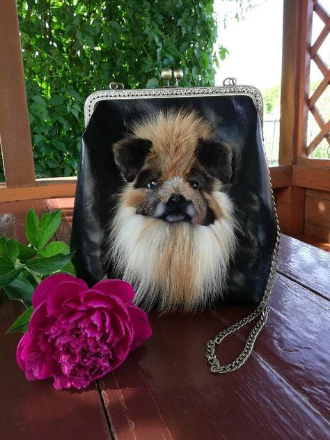 Bag with dog, Pekingese,dog portrait, shoulder bag, exclusive designer bag