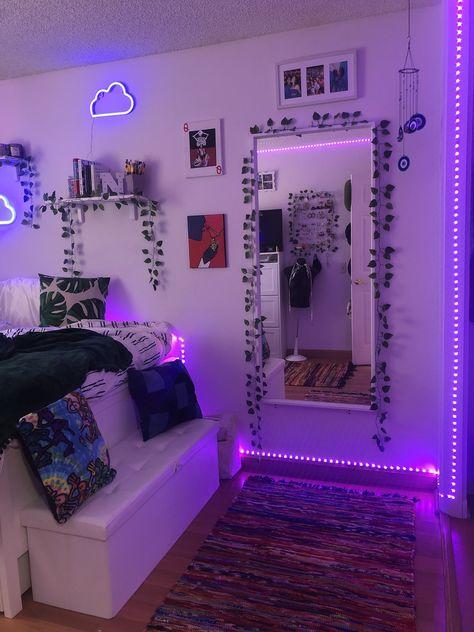 Neon Bedroom, Cute Bedroom Decor, Room Design Bedroom, Bedroom Decor For Teen Girls, Teen Room Decor, Stylish Bedroom, Room Ideas Bedroom, Dream Teen Bedrooms, Dream Rooms