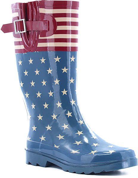 59f09ac643a Blue & Red Stars & Stripes Rain Boot - Women | SHE SHOES, SHE SCORES ...
