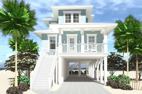 Plans to build a small 4 bedroom beach house. Parking below the house. Available in PDF and CAD formats. Coastal House Plans, Beach House Plans, Cottage House Plans, Cottage Homes, Beach Cottage Style, Beach Cottage Decor, Coastal Cottage, Coastal Homes, Beach Homes