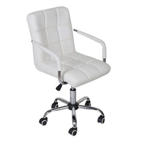 Free Shipping Buy Calhome Adjustable Rolling Office Chair At Walmart Com White Office Chair Modern Office Chair White Desk Chair
