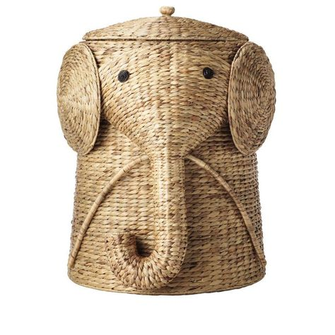 W Animal Laundry Hamper in Natural. Your child will find keeping the bedroom floor clear of clothes a lot more fun with our Animal Hamper. This wicker laundry basket is expertly handcrafted into the shape of a friendly elephant with a curling trunk.
