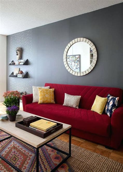 80+ Modern Living Room Furniture & Living Room Design | red couch ...