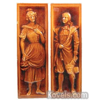 American Encaustic Tiling Company Man, Pattern: Woman, Brown, Description: Marked, 18 x 6 In., 2 Piece.