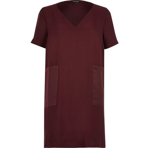 e29ba3590d4f River Island Dark red panel pocket T-shirt dress (61 AUD) ❤ liked on  Polyvore featuring dresses