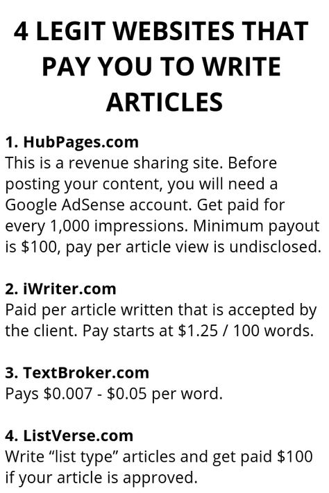 4 Legit Websites That Pay You To Write Articles