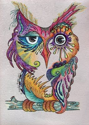 Great owl from Paula Radl: I drew this owl with colored pencils on paper I had soaked in wine to give it a purplish effect. By Paula Radl