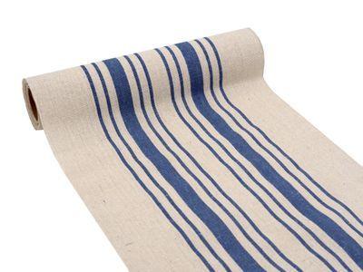 3m Tischlaufer Tischband Leinen Baumwolle Streifen Blau Beige Maritim Sommer Garten Tischlaufer Maritim Tischband