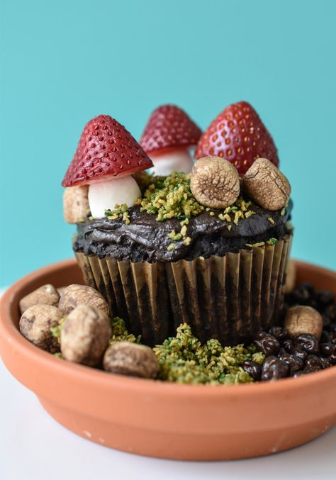 These gluten and dairy free DIY Edible Terrariums are Mother Nature's way of including those of us with brown thumbs. Cute Desserts, Delicious Desserts, Dessert Recipes, Yummy Food, Mushroom Cake, Mushroom Cupcakes, Pretty Cakes, Let Them Eat Cake, Amazing Cakes