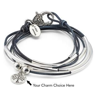 Shiny Silver Tone Engraved Message Be{you}tiful Charm Leather Bracelet