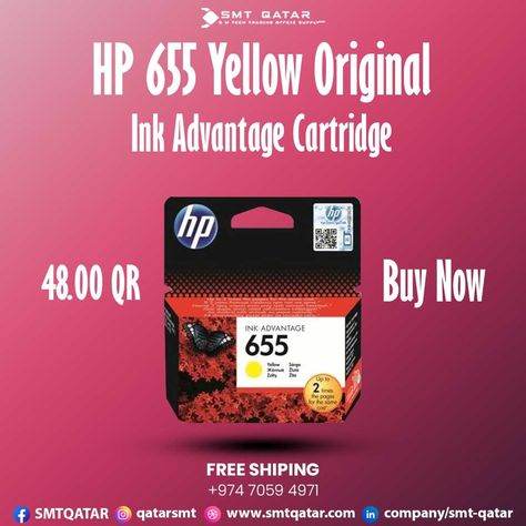 HP 655 Yellow Original Ink Cartridge with free shipping all over Qatar.
