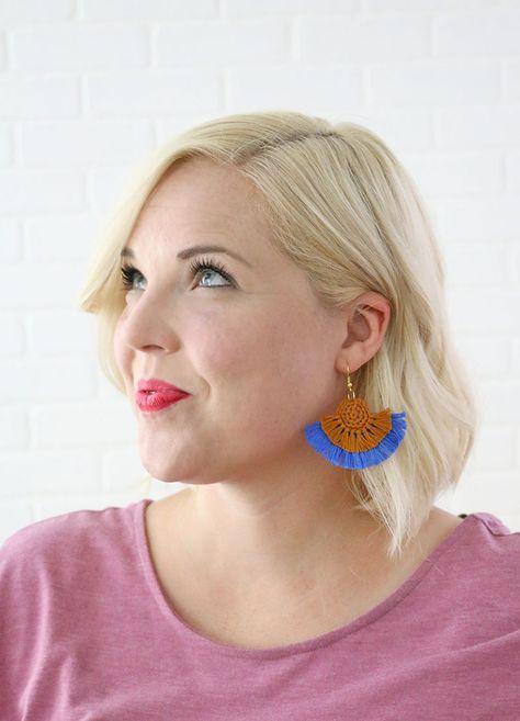 DIY Fringe Statement Earrings - Crochet Earrings Pattern - Persia Lou