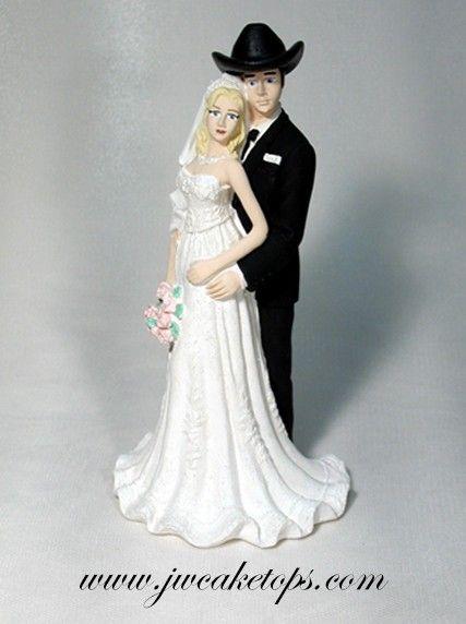 Western Wedding Cake Topper Groom Wears Cowboy Hat And Boots Bride Wears Dress An Wedding Dresses Cinderella Corset Back Wedding Dress Wedding Dresses Romantic