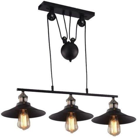 Lampes Industrielle Poulie Lustre 3 Suspension MpqUzSV