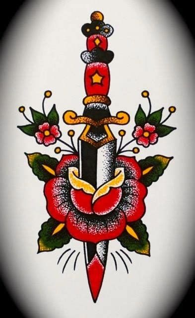 Famous Tattoo Artist In Chicago In 2020 Traditional Dagger Tattoo Traditional Tattoo American Traditional Tattoo