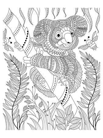 Koala Bee And Bamboo Coloring Art Coloring Poster Bear Coloring