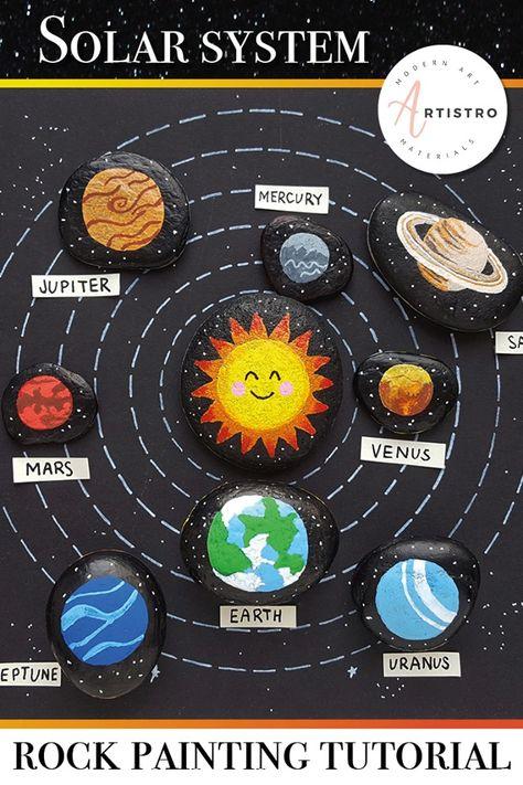 Solar system painted rocks