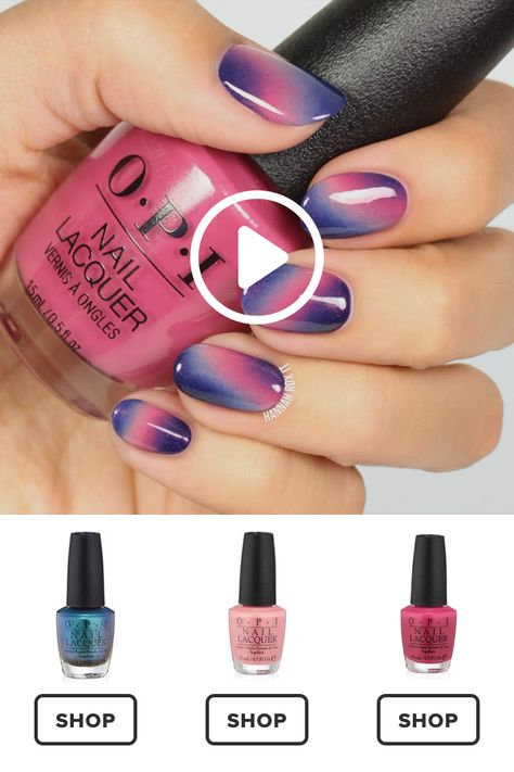 Pink and Purple Ombre Manicure Tutorial #darbysmart #beauty #nailpolish #nailart #naildiy #naildesign #nailtutorial