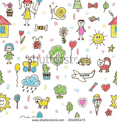 Hand Drawn Children Drawings Color Seamless Pattern Doodle Children Drawing Background Vector Illustration Drawing For Kids How To Draw Hands Doodle Drawings