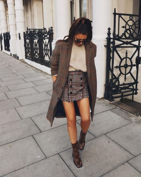 what to wear with a tweed skirt : beige sweater + plaid coat + boots