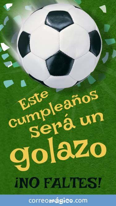 Tarjeta De Invitacion De Cumpleaños Con Futbol Para Whatsapp