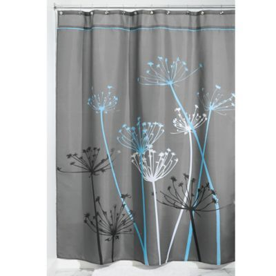 Interdesign 72 X 84 Thistle Fabric Shower Curtain In Grey Blue