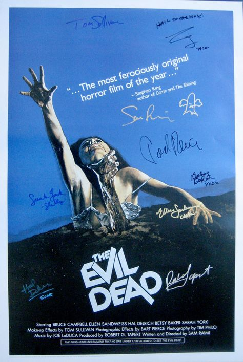 "EVIL DEAD (1981) movie poster cast signed Bruce Campbell (added ""Hail"