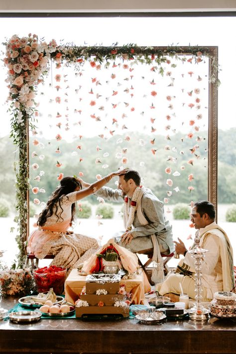 wedding Indian - Gorgeous Pastel Peach and Mint Indian Fusion Wedding at Graystone Quarry