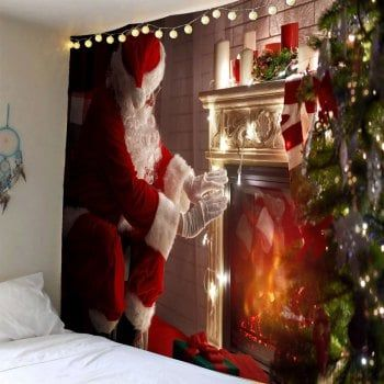Santa Claus Front Fireplace Printed Wall Tapestry Fireplace Prints Christmas Wall Hangings Cheap Wall Tapestries