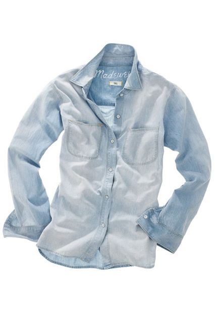 This Is The Only Denim Shirt You Need, Says Math #refinery29  http://www.refinery29.com/2014/05/67593/best-chambray-shirt#slide1  The top-ranked chambray: The Madewell Perfect Chambray Ex-Boyfriend shirt.