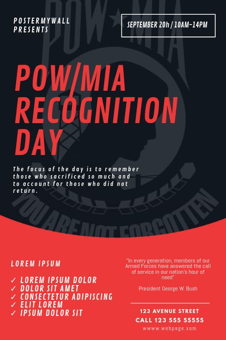 Pow Mia Recognition Day Flyer Design Template Event Poster Template Poster Template Earth Day Posters