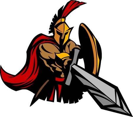 Espartana Mascota Troyana Con Espada Y Escudo Espartanos Guerrero Espartano Dibujos