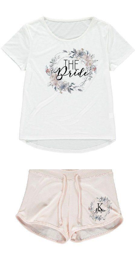 Bride Robe Personalised Bride PJS Hen Party Pjs. Bride Pyjamas Bridesmaid Gift Vest PJS Bridesmaid PJS Bridal Bronze Floral Wreath