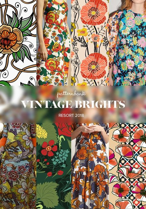 Patternbank bring you the strongest print and pattern trends seen at the recent Resort 2018 collections. A bold mixture of bright vintage inspired florals