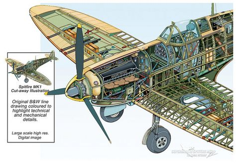 WW2 Britain/'s New Spitfire Glossy A3 Poster Print Cutaway diagram with Key