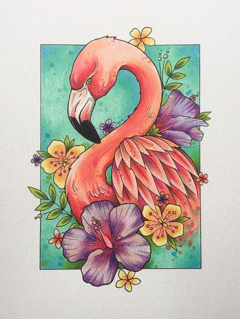 Flamingo print, tattoo print, flamingo decor, gifts for women, flamingo gifts, tattoo design, wall art, watercolor painting