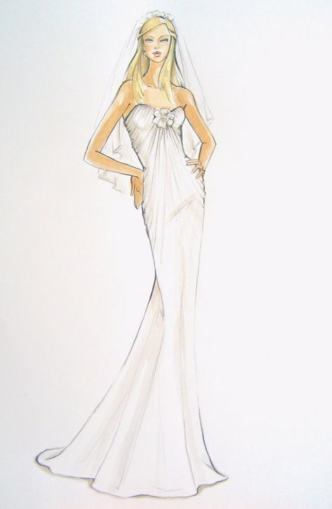 Custom Bridal Gown Fashion Illustration by ForeverYourDress, $150.00 www.foreveryourdress.com