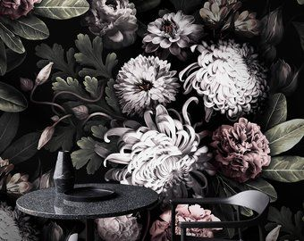 Dark Floral Wallpaper Floral Wallpaper Dark Flowers Peony Wallpaper Black Floral Wallpape Peony Wallpaper Vintage Floral Wallpapers Black Floral Wallpaper