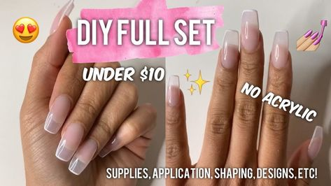 Diy Full Set Nails At Home Easy Cheap Youtube Cotton Candy Nails Cheap Nail