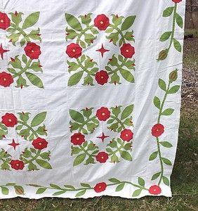 "Detail, Antique Victorian Applique Quilt Top Red Flowers 81"" x 77"" | eBay, theantiquebrokers"