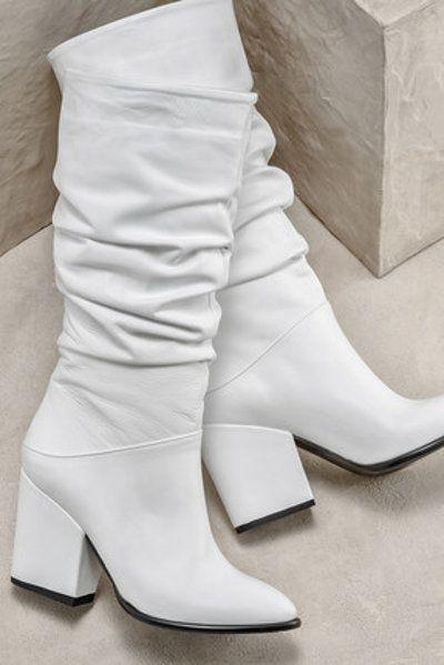 Elle Shoes Hakiki Deri Beyaz Kadin Cizme Klasik Moda Moda Cizmeler