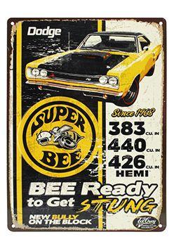 Vintage Replica Tin Metal Sign 1968 Dodge Super Bee Mopar motor hemi 383 440 426