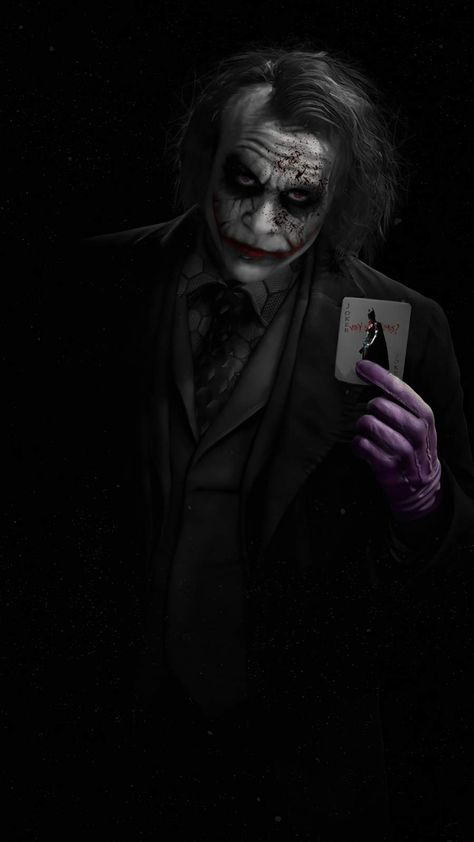Joker Heath Ledger with Card - iPhone Wallpapers