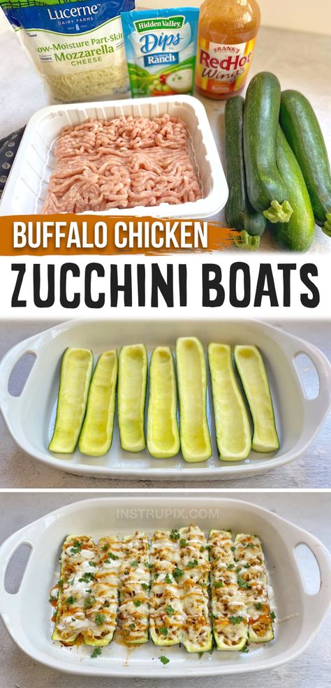 Buffalo Chicken Zucchini Boats (Easy, Healthy & Low Carb!)