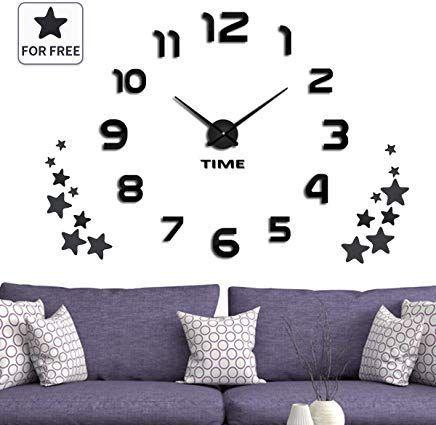 Jeteven 3d Wanduhr Groaÿ Diy Uhr Quarz Wanduhr 3d Aufkleber Acryl Uhr Mit 16 Dekorative Sterne Far Wohn Schlaf Kinder Badezimmer Kache Baro Ca Wall Clock Decor Home Decor