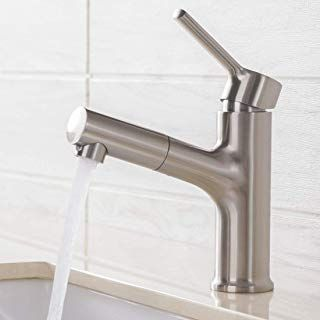 Comllen Commercial Brushed Nickel Pull Out Bathroom Sink Faucet Stainless Steel Single Handle Pu Sink Faucets Pop Up Sink Drain Bathroom Faucets Brushed Nickel
