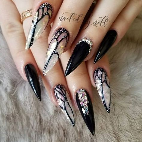 70 Trendy And Unique Stiletto Nail Art Designs Black Stiletto