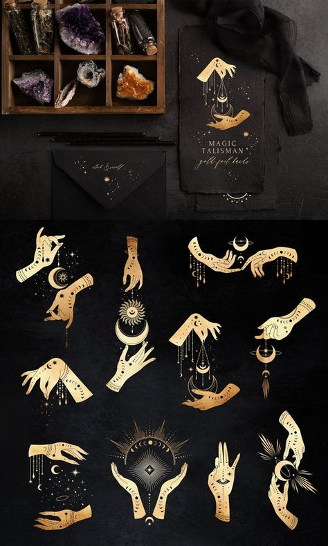 Magic Hand Talisman Clipart - Gold Foil Magic Hands - Astrology Symbol Mystical Space Celestial - Sun Moon Stars Sky Spiritual Sacred Set